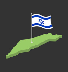 israel flag and map israeli banner ribbon jewish vector image