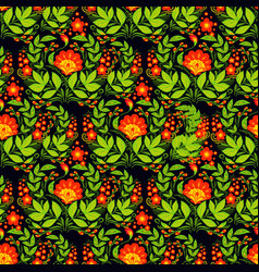 khokhloma seamless pattern background vector image