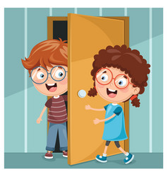Kid opening the door vector