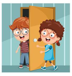 kid opening the door vector image