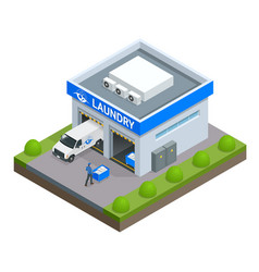 Laundry and dry cleaning isometric concept with vector