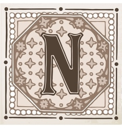Letter N with leaves and frame vector