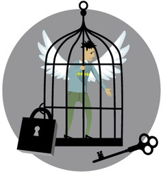 Locked in a cage vector