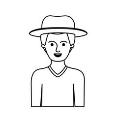 Man half body with hat and sweater with short hair vector