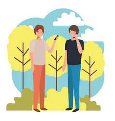 Men in landscape with smartphone avatar vector