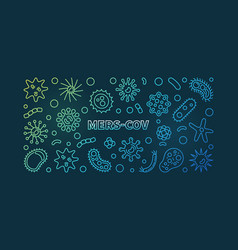Mers-cov colored outline concept horizontal vector