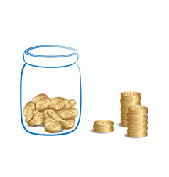 money stacks and jar with coins vector image