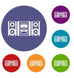 Music center icons set vector