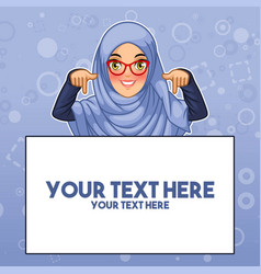 Muslim woman pointing finger down at copy space vector