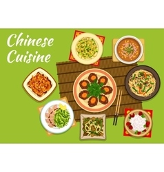 National chinese cuisine dishes for menu design vector