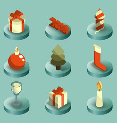 new year color isometric icons vector image