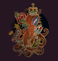 Octopus in the crown with the red rose against a vector