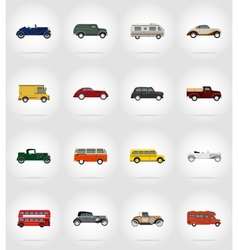 Old retro transport flat icons 17 vector