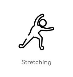 Outline stretching icon isolated black simple vector