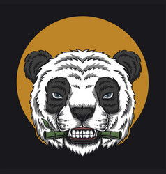 panda eat bamboo head vector image
