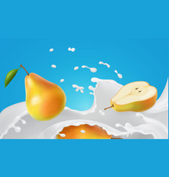 pear and milk splash fruit floating in yogurt vector image