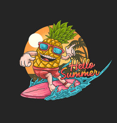 pineapple tropical surfing gra vector image