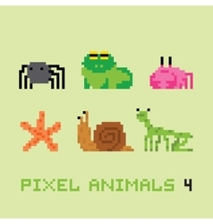 Pixel art style animals cartoon set 4 vector image