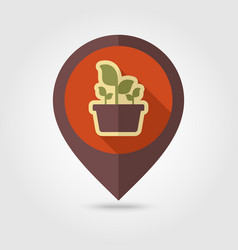 Plant in pot flat pin map icon garden flowerpot vector