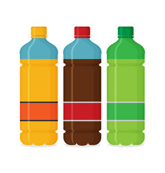 Plastic beverage bottles icon set bottled cold vector