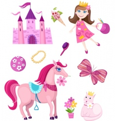 princess elements set vector image
