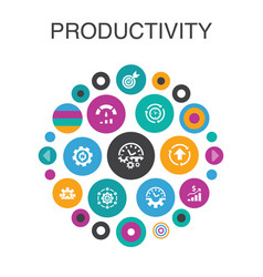 Productivity infographic circle concept smart ui vector
