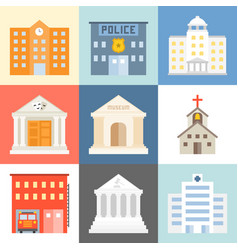 public building icons set flat design vector image