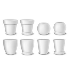 Realistic white empty flower pot set vector