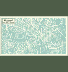 richmond virginia usa city map in retro style vector image