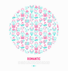 Romantic concept in circle with thin line icons vector