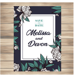 Save the date vintage white flowers dark green flo vector