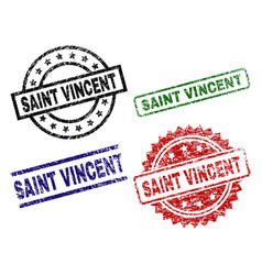 Scratched textured saint vincent stamp seals vector