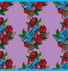 Seamless pattern a gun and roses on purple vector