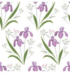 Seamless pattern with stylized cute irises vector