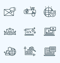 search icons line style set with text content e vector image