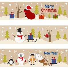 set horizontal banners with christmas trees and vector image