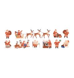 set merry santa claus characters riding vector image