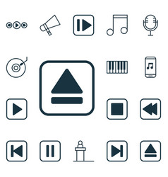 Set of 16 music icons includes mute song note vector