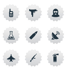 set of 9 simple war icons can be found such vector image