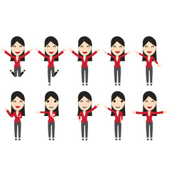Set of business woman characters in movement vector