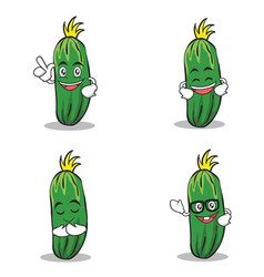 Set of cucumber character cartoon collection vector
