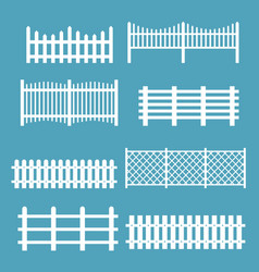 Set of different fences white vector