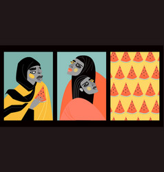Set stylized portraits arab girls vector