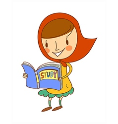 Side view of girl holding book vector