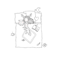 sleeping girl and cat good night sweet dreams vector image