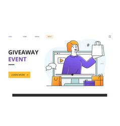 social media influencer doing a giveaway event vector image