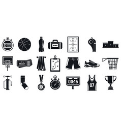 sport basketball equipment icons set simple style vector image