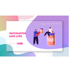 treatment and vaccination website landing page vector image