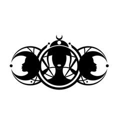 Triple goddess beautiful women logo moon phases vector
