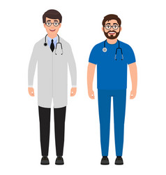 two male doctors with a stethoscope around his vector image